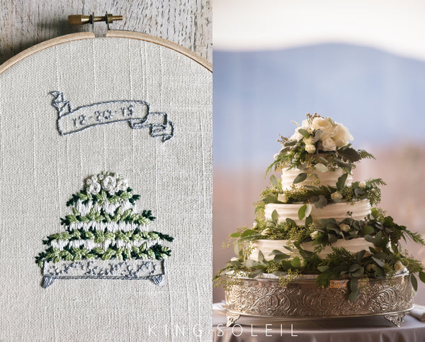 Custom Wedding Cake Embroidery - 7 inch
