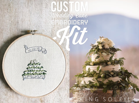 Embroidery Kit Custom Wedding Cake - 7 inch