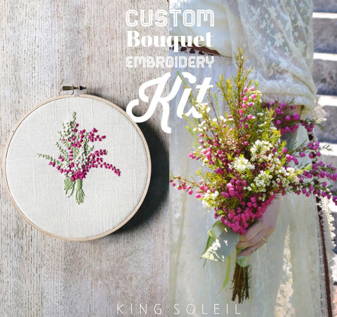 Embroidery Kit Custom Bridal Bouquet - 7 inch