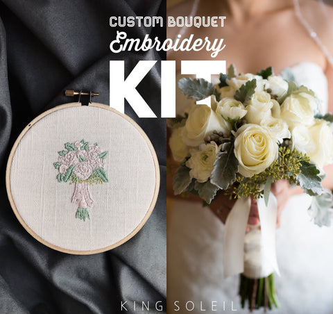 Embroidery Kit Custom Bridal Bouquet - 5 inch