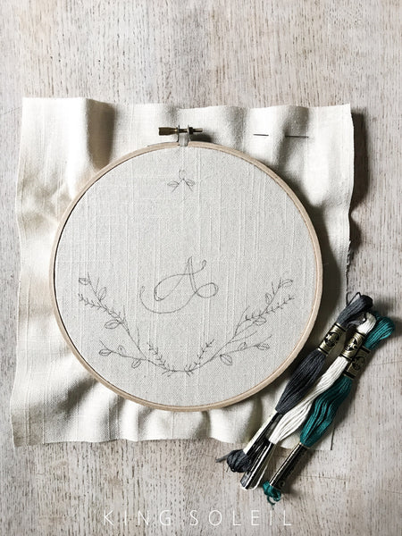 Embroidery Kit - Thistle Wreath Calligraphy Monogram