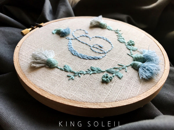 Thistle Wreath Calligraphy B Monogram Embroidery