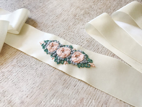 Embroidered Vintage Satin Sash - Trio of Roses