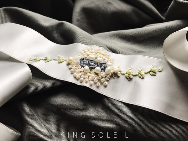 Embroidered Vintage Satin Sash - Pearls and Roses