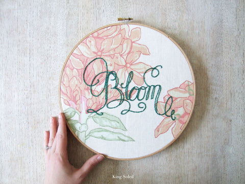 Floral Bloom Calligraphy Embroidery Hoop Art One of a Kind - King Soleil - 1
