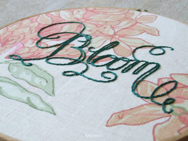Floral Bloom Calligraphy Embroidery Hoop Art One of a Kind - King Soleil - 2