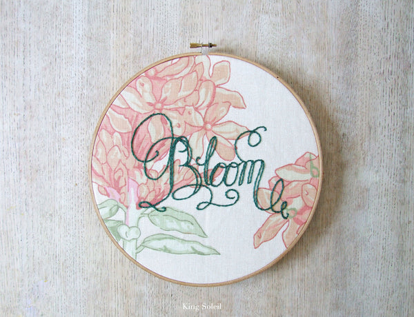 Floral Bloom Calligraphy Embroidery Hoop Art One of a Kind - King Soleil - 3