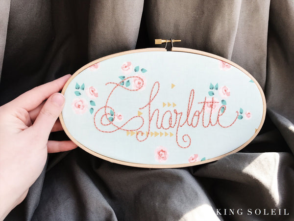 Mint and Gold Boho Name Sign Embroidery Hoop Art