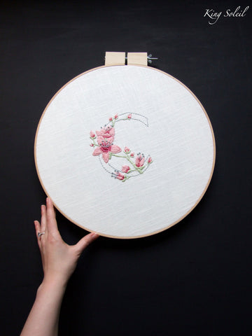 C is for Cherry Blossom Embroidery Wall Art - King Soleil - 1
