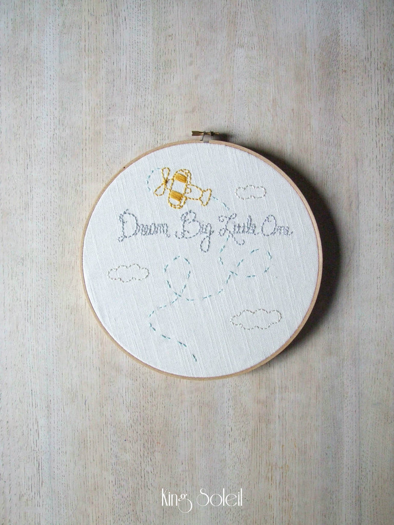 Vintage Plane Dream Big Embroidery Wall Art - King Soleil - 1