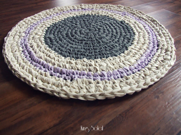 Dusk Grey and Lavender Round Cotton Rug - King Soleil - 4