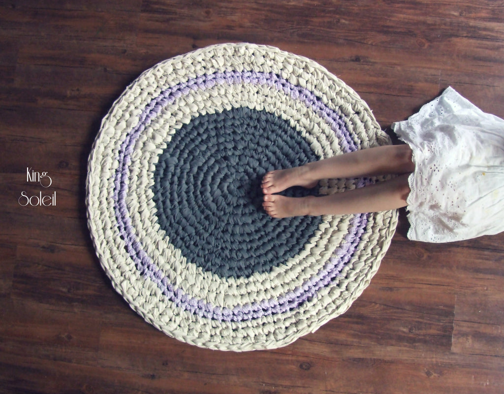 Dusk Grey and Lavender Round Cotton Rug - King Soleil - 1