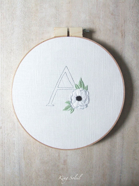 A is for Anemone Embroidery Wall Art - King Soleil - 3