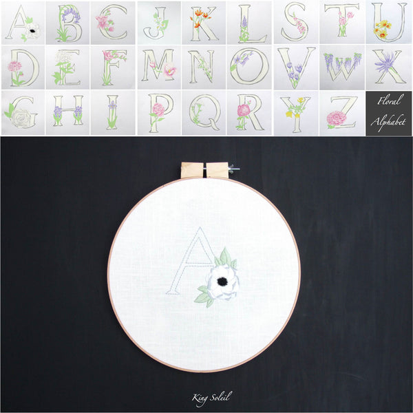 Floral Alphabet Embroidery Wall Art - King Soleil - 3