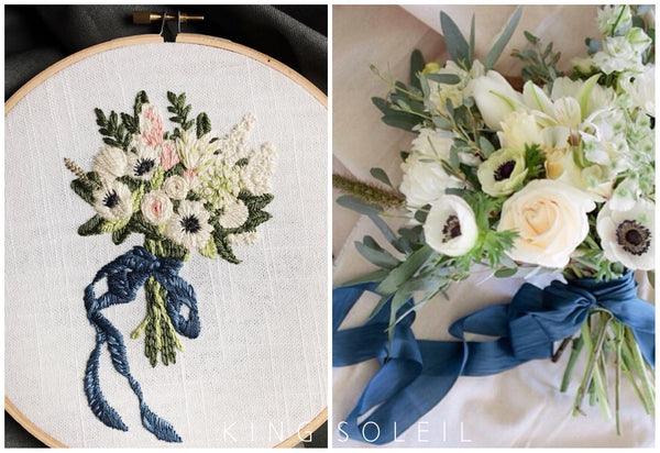 Bridal Bouquet Custom Embroidery - 7 inch