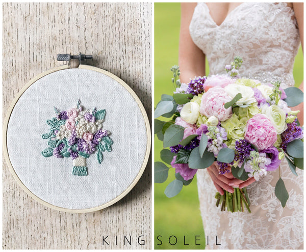 Bridal Bouquet Custom Embroidery - 5 inch
