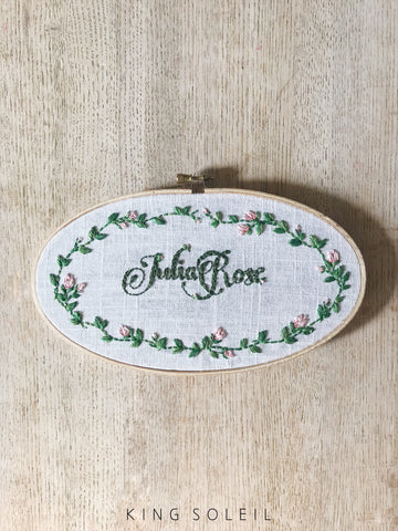 Rose Wreath Calligraphy Name Sign