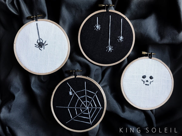 Spider Halloween Decor Embroidery Art