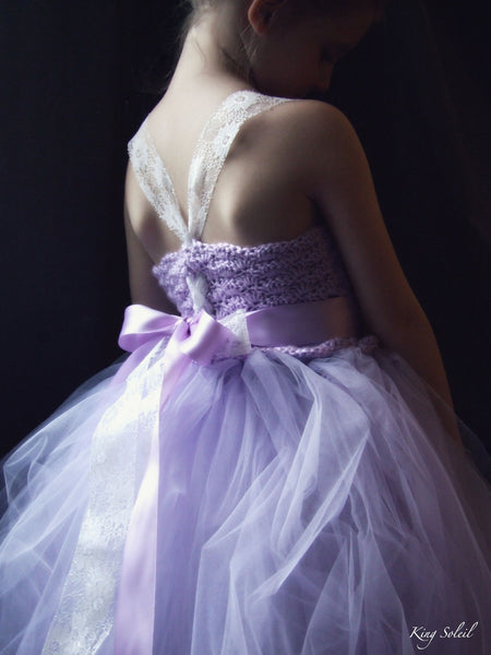 Lavender Tulle Flower Girl Dress - King Soleil - 5