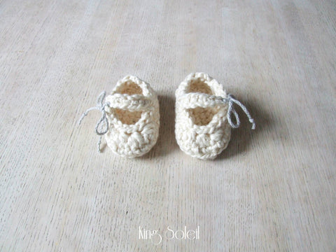 Mary Jane Booties in Ivory Organic Cotton - King Soleil - 1