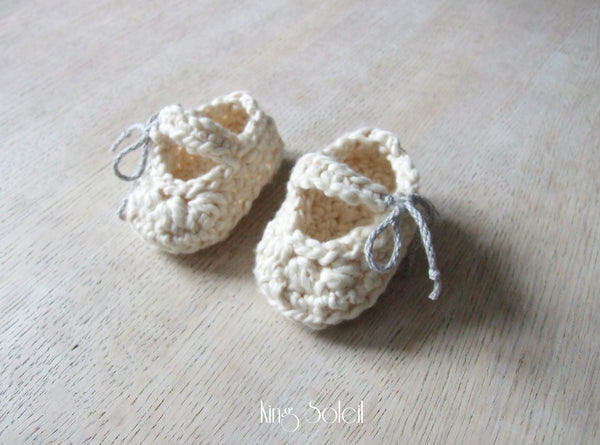 Mary Jane Booties in Ivory Organic Cotton - King Soleil - 4