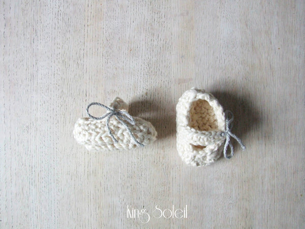 Mary Jane Booties in Ivory Organic Cotton - King Soleil - 2