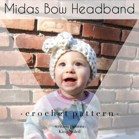 Midas Bow Headband Crochet Pattern - King Soleil - 1