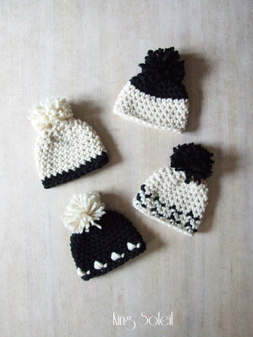 Oslo Winter Baby Hat in Ivory and Ebony - King Soleil - 1