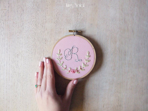 Cottage Monogram Embroidery on Pink Pin Dot