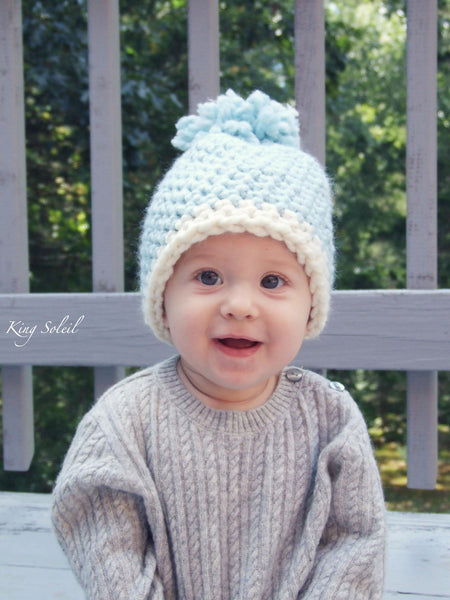 Oslo Winter Baby Hat in Ivory and Ebony - King Soleil - 5