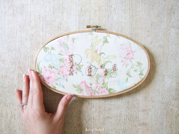 Antique Flower Garden Name Sign Embroidery Hoop Art - King Soleil - 1