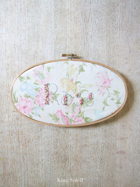 Antique Flower Garden Name Sign Embroidery Hoop Art - King Soleil - 4