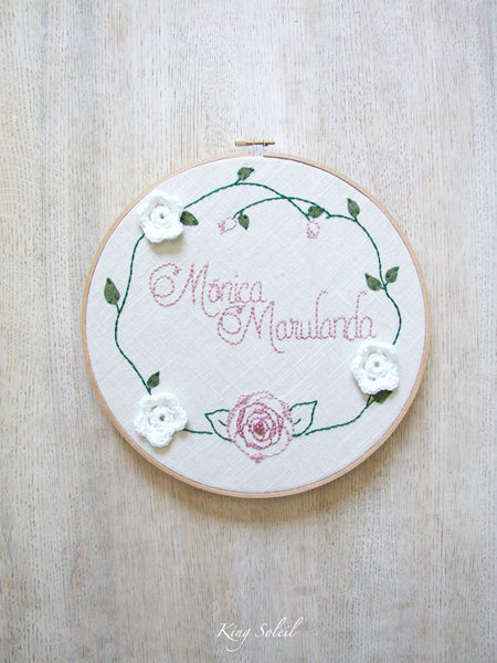 Rose Garden Name Sign Embroidery Art - King Soleil - 1