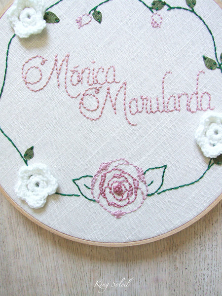 Rose Garden Name Sign Embroidery Art - King Soleil - 3