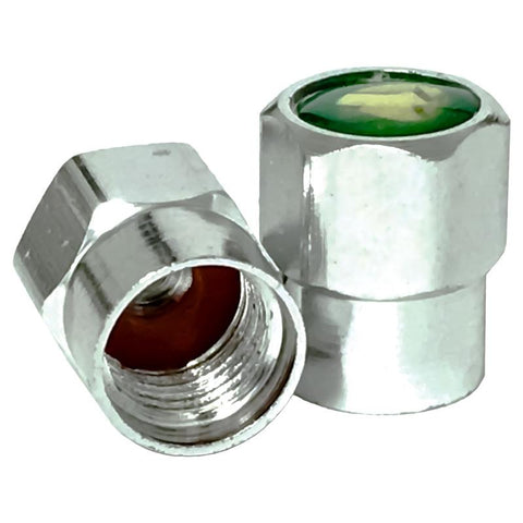 AA Green Metalic Valve Caps w/ O-Ring (100/Bag)