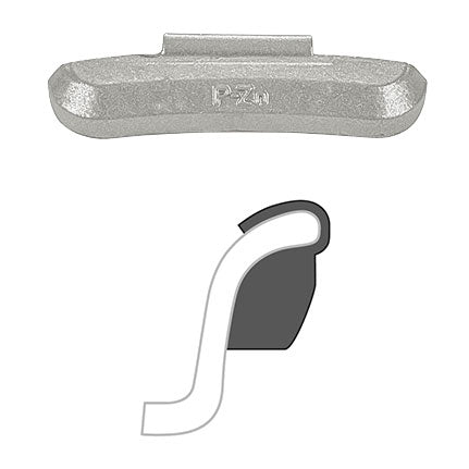 "AA ""P"" Clip-On Wheel Weight (Zinc /Uncoated / 25/Box)"