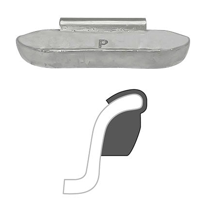 "AA ""P"" Uncoated Clip-On Wheel Weight (Lead)"