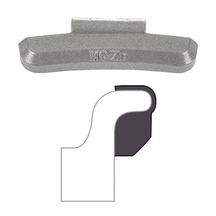 "AA ""MC"" Clip-On Wheel Weight (Zinc / 25/Box)"