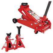 ATD 3 Ton Jack With A Pair Of Three Ton Jack Stands