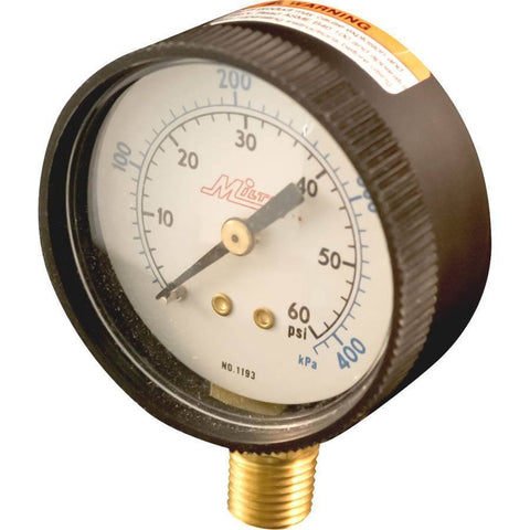 Air Tools - Milton Bottom Mount Pressure Gage 1/4 In NPT (0-60 PSI)