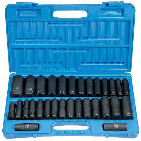 Impact Socket - GP 1/2 In Drive Fractional And Metric Socket Set (30 Piece)