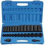 Impact Socket - GP 1/2 In Drive Standard And Deep Impact Socket Sets (28 Piece)