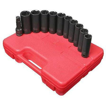 Impact Socket - Sunex 1/2 In Dr. 11 Pc. SAE And Metric Extra Thin Wall Deep Impact Socket Set