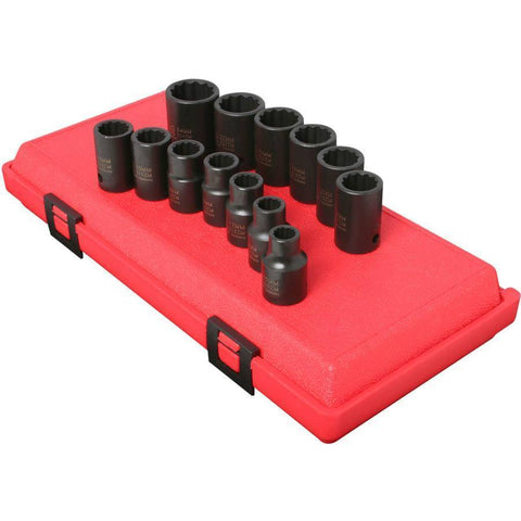 Impact Socket - Sunex 1/2 In Dr. 12 Pt. 13 Pc. Metric Impact Socket Set