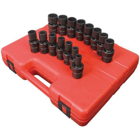 Impact Socket - Sunex 1/2 In Dr. 12 Pt. 15 Pc. Metric Universal Impact Socket Set