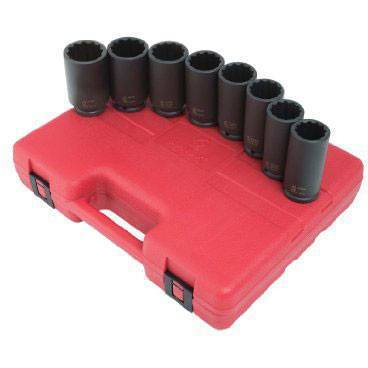 Impact Socket - Sunex 1/2 In Dr. 12 Pt. 8 Pc. Deep Spindle Nut Impact Socket Set