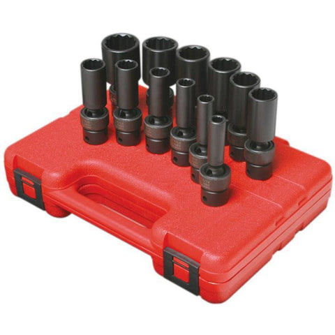 Impact Socket - Sunex 3/8 In Dr. 12 Pt. 12 Pc. SAE Universal Deep Impact Socket Set
