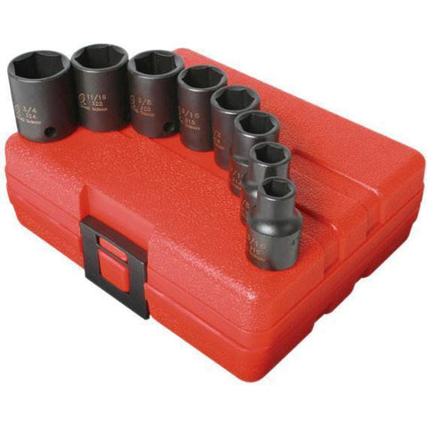 Impact Socket - Sunex 3/8 In Dr. 8 Pc. SAE Impact Socket Set