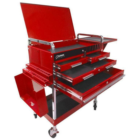 Shop Equipments - Sunex Deluxe Service Cart - Red