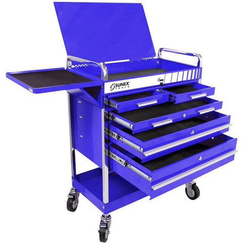 Shop Equipments - Sunex Professional 5 Drawer Service Cart W/Locking Top-Blue